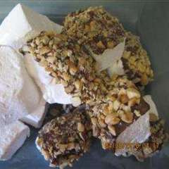 marshmallows with chocolate and nuts